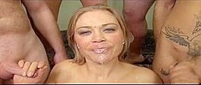 Breasty whore from italy enjoyed shag before bukkake...