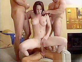 Sexy brunette wife with three friends on wifesharing666com...