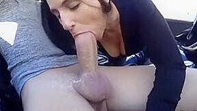 My slutty 18yo stepsister trying to suck cock...