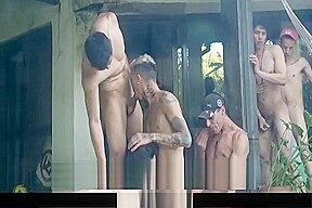 Latinmilk five latino studs fuck at party...