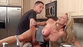 Stepson cock fucks his mature stepmom kitchen...