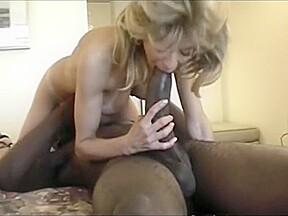Blonde milf sucks the hugest cock...