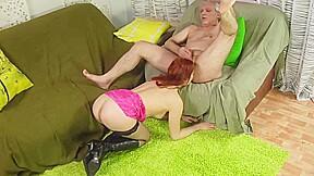 Redhead whore licks hairy before he...