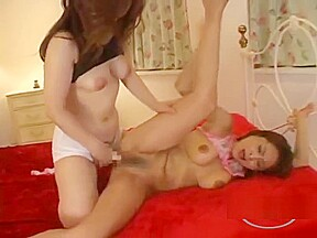 Asian woman getting her hairy pussy fingered strapon...