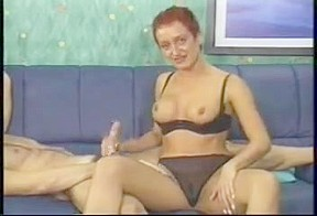 Short Haired Lady Giving Handjob