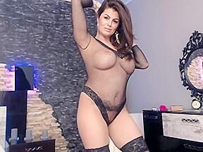 Brunette models sheer lingerie...