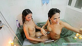 Transsexual Oriental teaser two ladymans in the baths