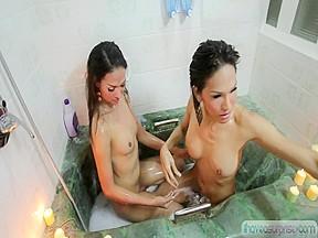 Lady-Boy Asians ladyboy fucking tgirl in the bathtub