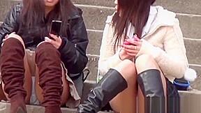 Asian teens flash panties...