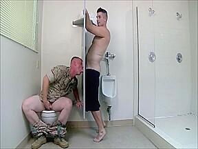 Army gloryhole threesome...