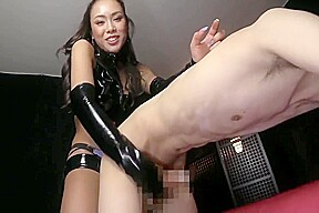 Beauty dominates submissive male...