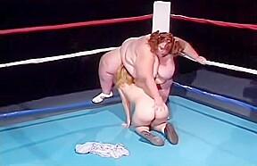 Huge boob bbw wrestles babe then bbw fat...