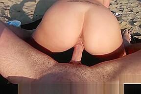 Beautiful brunette amateur sucks and fucks beach...