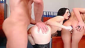 2 Hot Secretaries Have Threesome In Office
