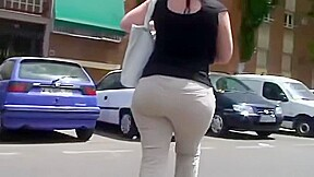 Spying candid bubble butt fat plumper booty...