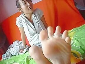 Chinese university girl and barefeet pov...