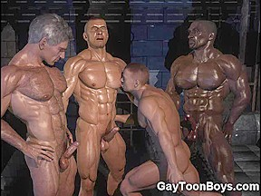 Muscled homosexual chaps 3d dream...