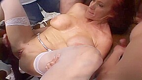 Mature ganged banged and loves it...