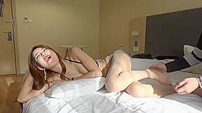 Sexy chinese babe tickled in black undies...