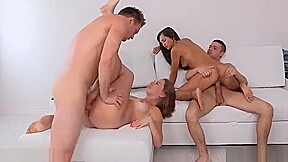 Sex action with four beautiful friends having fun...