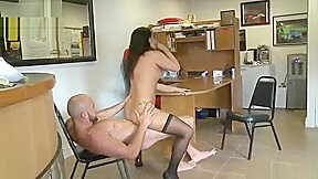 Amateur taking part in hard movie in office...