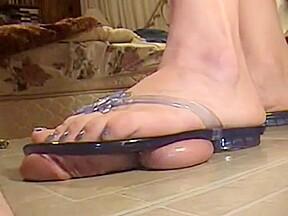 Transparent flip flops trample party...