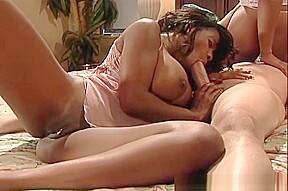 Ebony babes working one cock...