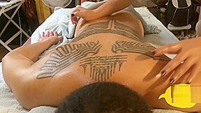 Private tattoos getting massage...