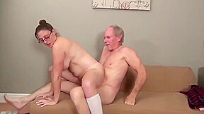 Lucky old man fucks naughty college girl...