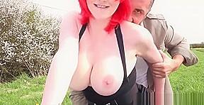 Outdoor redhead cum swallow...