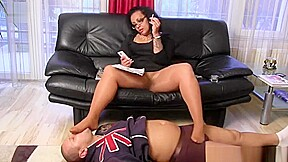 Footstool trampling and foot worship footjob-