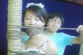 Chinese schoolgirl tied up with pantyhose-