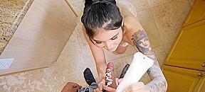 Kitchen hot tattooed babe...