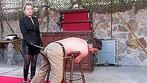 Cruel Caning in the Courtyard