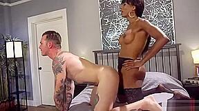 Muscle ebony transgirl seduced young bisexual man...