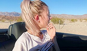 Tini ting in the car direct to the public massage hand smooth shaved p...