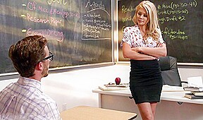 Student blonde stockings right classroom have sex...