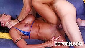 Hot brunette fucked in her boob