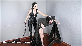 Lezdom punishment of nosehooked and whipped Brasilian slave girl Tara in bondage