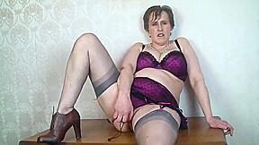 Busty Mature Secretary Toys In Nylon Stockings