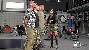 Slutty French Brunette In Black Fishnets Aletta Ocean Is Having Group Sex With Guys In Uniforms