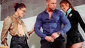Two horny sluts and a handsome guy a...
