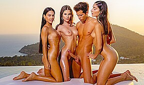 Three beautiful brunettes at sunset gave the boy...