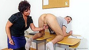 Loriell Is Giving A Handjob To One Of Her Students And Getting A Cumshot On Her Boobs