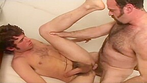Hairy guy and hunk flip flop