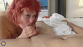 Red Haired American Mature In Black Stockings Likes To Have Casual Sex With Younger Guys