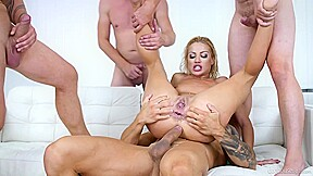 Stunningly hot serbian is getting gangbanged by four...