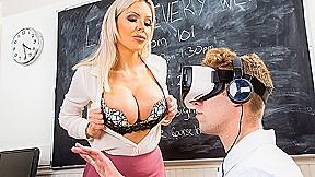 Nina elle catches vr porn fucks him in...