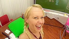 Sweet blonde schoolgirl gentle anal sex with her...