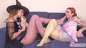 Witch and fairy cosplayers foot worship fun...